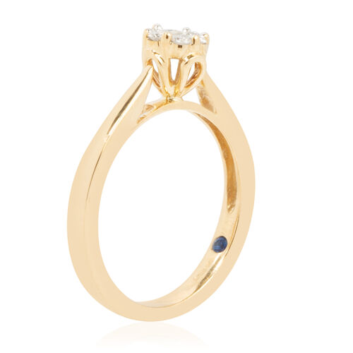 New York Close Out - 9K Yellow Gold Diamond (I2/G-H) (Rnd), Kanchanaburi Blue Sapphire Ring 0.250 Ct.