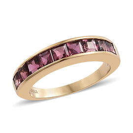 ILIANA 18K Yellow Gold AAA Pink Tourmaline (Sqr) Half Eternity Band Ring  1.250  Ct.