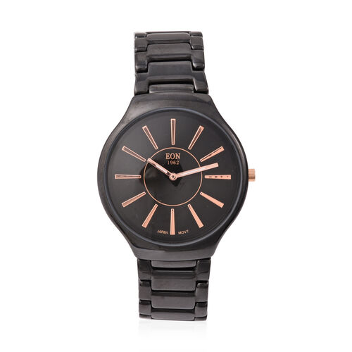 EON 1962  3ATM Water Resistant Watch in Stainless Steel with Black Ceramic Chain Strap and Butterfly