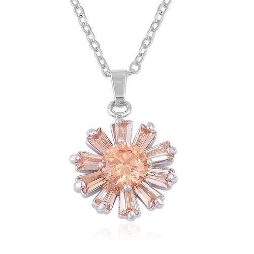 AAA Simulated Champagne Diamond Floral Pendant With Chain and Earrings (with Clasp) in Silver Plated
