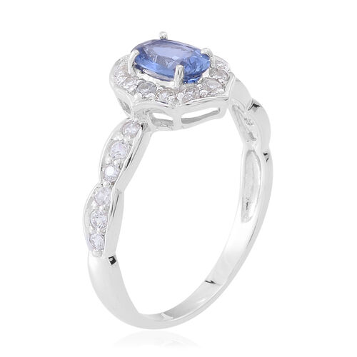 9K White Gold AA Ceylon Sapphire (Ovl), Natural White Cambodian Zircon Ring 1.750 Ct.