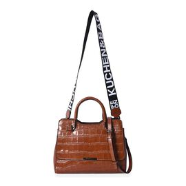 100% Genuine Leather Croc Embossed Tote Bag with Shoulder Strap (Size 28x13x21 Cm) - Dark Chocolate
