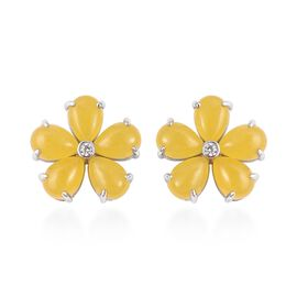 Yellow Jade (Pear), Natural White Cambodian Zircon Floral Stud Earrings (With Push Back) in Rhodium