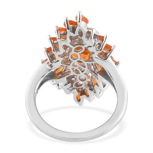 Jalisco Fire Opal (Ovl), Natural Cambodian Zircon Ring in Platinum Overlay Sterling Silver 2.250 Ct.