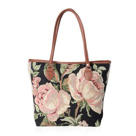 Black and Multi Colour Flower Pattern Tote Bag (Size 42x35x3210.5 Cm)