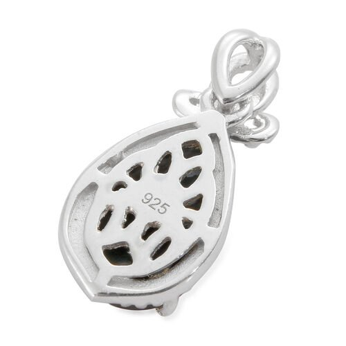 Natural Spectrolite (Pear) Solitaire Pendant in Platinum Overlay Sterling Silver 2.000 Ct.