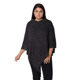 One Time Mega Deal-Solid Colour Knit Sequin Poncho with Tassels  - Black - One Size