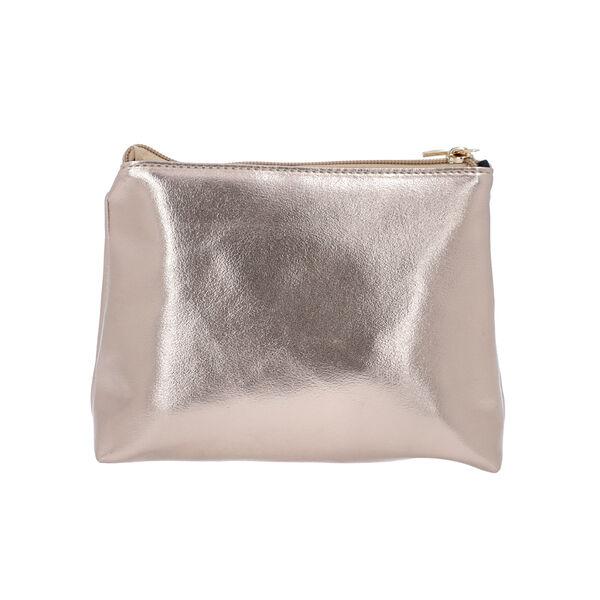 2 Piece Set - Metallic Rose Gold Colour Bowknot Satchel Bag (Size 28x12x16cm) with Zipper Closure and Pouch Bag (Size 20x7x15cm)