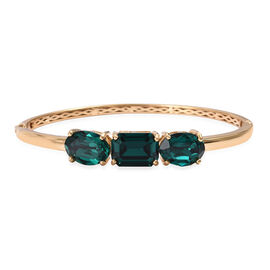 J Francis - Crystal from Swarovski Emerald Colour Crystal (Oct) Bangle (Size 7.5) in 14K Gold Overlay Sterling Silver, Silver wt 13.00 Gms