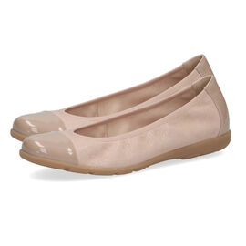 Caprice Leather Ballerina Shoe - Sand