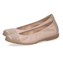 Caprice Leather Ballerina Shoe - Sand