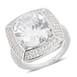 ELANZA Simulated Diamond (Ovl and Rnd) Ring in Rhodium Overlay Sterling Silver