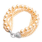 Simulated Golden Pearl, Simulated Diamond and Simulated Peridot Bracelet (Size 8) in Silver Tone