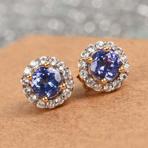AAA Tanzanite and Natural Cambodian Zircon Halo Stud Earrings (with Push Back) 14K Gold Overlay Sterling Silver 1.00 Ct.