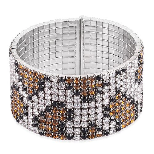 AAA Champagne, White and Black Austrian Crystal Python Snake Skin Bangle in Silver Tone