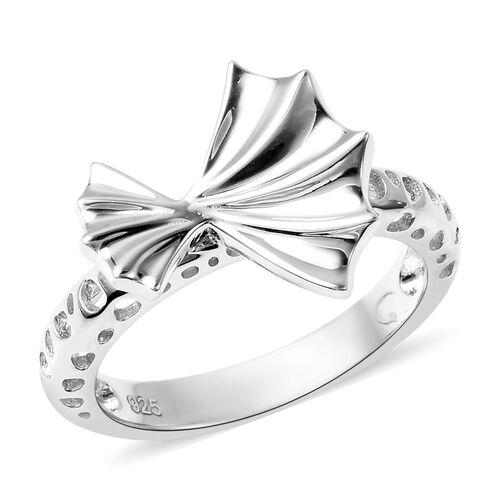 RACHEL GALLEY - Rhodium Overlay Sterling Silver Latticwork and Bow Ring