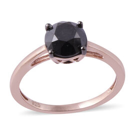 Black Diamond (Rnd) Ring in Rose Gold Overlay Sterling Silver 2.000  Ct.