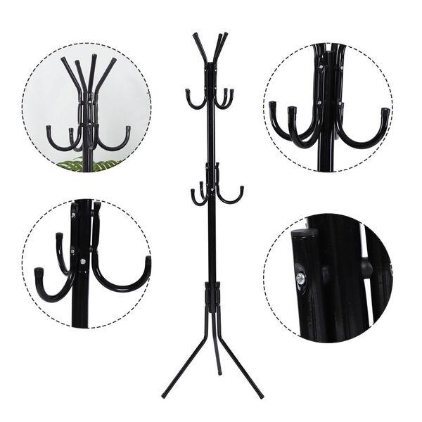 Stylish Metal Coat Rack (Size: 45x45x173 Cm) - Black