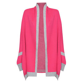 Kris Ana Coloured Border Cardigan One Size (8-20); L=70 Cm - Fuchsia and Grey