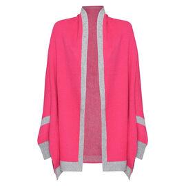 Kris Ana Coloured Border Cardigan One Size (8-20); L=70 Cm - Fuchsia and Grey