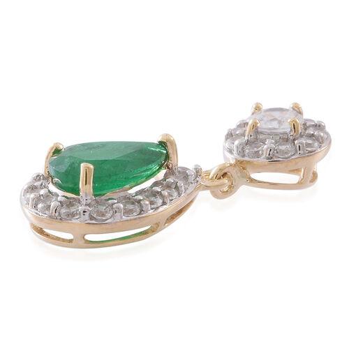Brand New - Designer Inspired 9K Yellow Gold AAA Kagem Zambian Emerald (Pear), Natural White Cambodian Zircon Pendant 2.000 Ct.