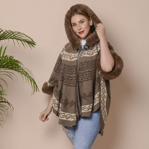 Coffee Brown Colour Half Round Shape Blanket Wrap with Faux Fur Collar (Size 109.22 x 80.01cm)