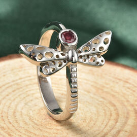 RACHEL GALLEY Fissure Filled Ruby Ring in Rhodium Overlay Sterling Silver