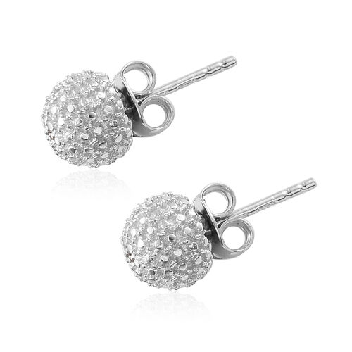 Diamond (Rnd) Ball Stud Earrings (With Push Back) in Platinum Overlay Sterling Silver