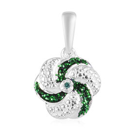 Green Diamond Swirl Design Pendant in Sterling Silver
