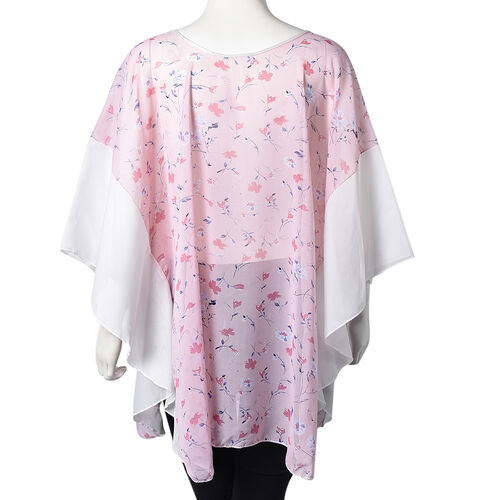 Flower Pattern Poncho (One Size Fits All; 65x75 Cm) - Blue, Red and Pink