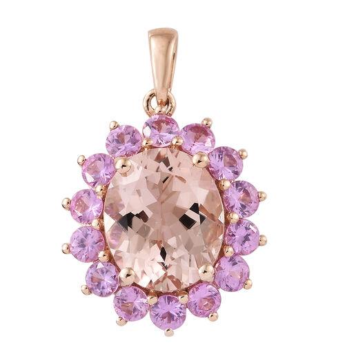 ILIANA  18K Rose Gold AAA Moroppino Morganite (Ovl 12X10 mm), AAA Madagascar Pink Sapphire Pendant 6.250 Ct.