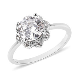 J Francis Made with SWAROVSKI ZIRCONIA Floral Ring in Platinum Plated Silver