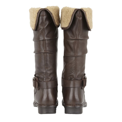 Lotus Brown Leather Talitha Knee-High Boots (Size 4)