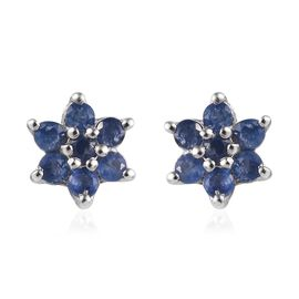 Burmese Blue Sapphire Flower Stud Earrings (with Push Back) in  Platinum Overlay Sterling Silver 1.0