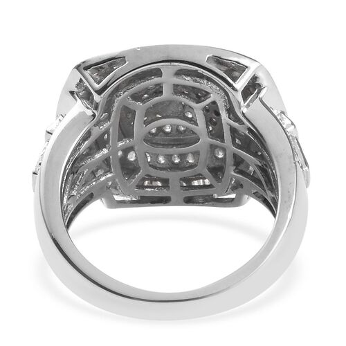 Diamond (Rnd and Bgt) Cluster Ring in Platinum Overlay Sterling Silver 1.25 Ct.
