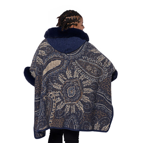 Cashew Flower Pattern Long Cape with Faux Fur Hood and Sleeves (One Size) - Navy Blue and Beige