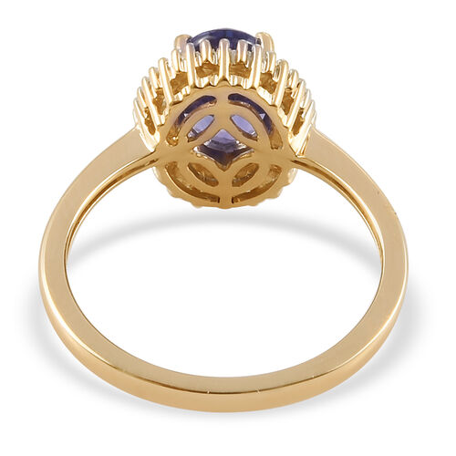 9K Yellow Gold Tanzanite and Natural Diamond Ring 1.60 Ct.