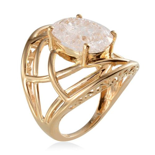 White Crackled Quartz (Ovl) Solitaire Ring in 14K Gold Overlay Sterling Silver 6.500 Ct.