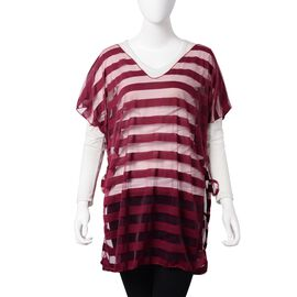 One Time Mega Deal-Wine Red Colour Transparent Stripe Pattern Vest (Size 75x65 Cm)