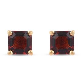 Cherry Citrine (Asscher Cut) Stud Earrings (with Push Back) in 14K Gold Overlay Sterling Silver 1.20