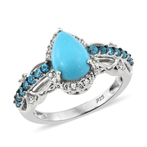 Arizona Sleeping Beauty Turquoise (Pear), Malgache Neon Apatite and Natural Cambodian Zircon Ring in