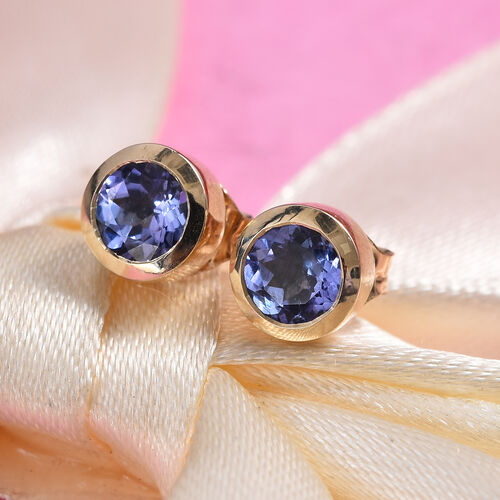 9K Yellow Gold 1 Carat AA Tanzanite Solitaire Stud Earrings (with Push Back)