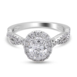 NY Close Out 14K White Gold Natural Certified Diamond (I1/ G-H) Ring 1.50 Ct, Gold Wt. 3.84 Gms