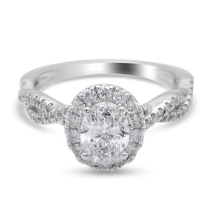 NY Close Out 14K White Gold,  Natural Independent Laboratories Certified Diamond (I1/ G-H) Ring 1.50