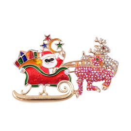 Multi Colour Austrian Crystal and Multi Colour Enameled Santa  Brooch in Yellow Gold Tone