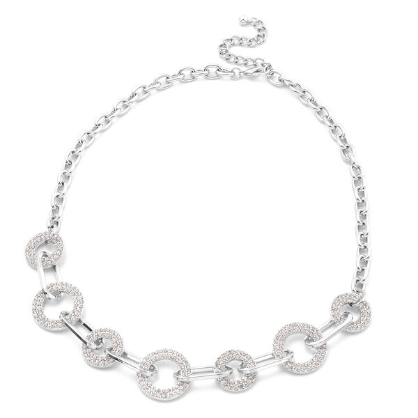 White Austrian Crystal Link Necklace (Size 22 with Extender) in Silver Tone
