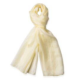 100% Mulberry Silk Yellow Colour Scarf (Size 180X100 Cm)