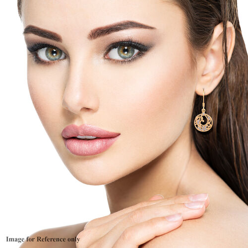 White Diamond Dangling Filigree Hook Earrings in 14K Yellow Gold Overlay Sterling Silver
