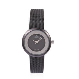 STRADA Japanese Movement Double Sunshine Dial Water Resistant Watch in Black Tone with Mesh Chain Strap