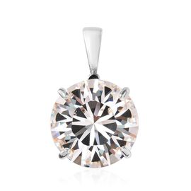 J Francis White Crystal from Swarovski Solitaire Pendant in Platinum Plated
